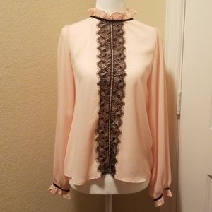 Agaci, Lace Tie Neck Blouse Pink